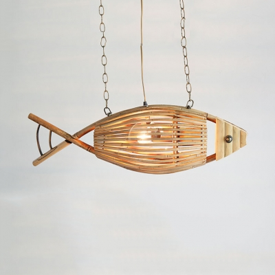 Bamboo Fish Chandelier Light Tropical Style 1 Suspension