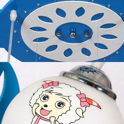 Betty Sheep Pattern Semi Flush Ceiling Light Baby Boy Girl Room Decorative Rudder LED Light Fixture