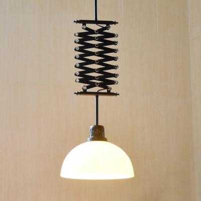 Black White Dome Shade Extendable Pendant Light Gl 1