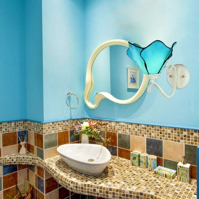 Blue Flower Shade Wall Lamp 1 Light Mediterranean Style Glass Sconce Light for Bathroom