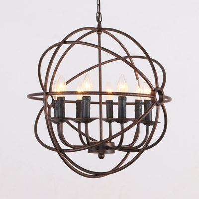 Candle Shape Living Room Chandelier Metal 8 Lights Vintage Hanging Light in Black