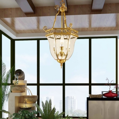 Classic Candle Shape Chandelier 3 Lights Clear Glass and Metal Pendant Lighting for Dining Room