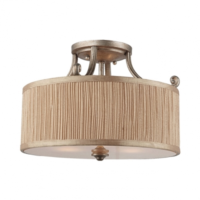 Drum Dining Room Semi Ceiling Mount Light Fabric 3 Lights Rustic Style Ceiling Lamp in Beige