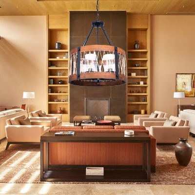 Drum Shape Pendant Lighting 5 Lights Rustic Style Metal and Wood Chandelier Light for Living Room Bedroom