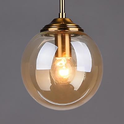 European Style Globe Shape Pendant Light Single Light Clear/Amber/Smoke Gray Hanging Light for Indoor
