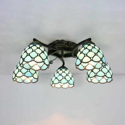 Glass Conical Semi Ceiling Mount Light Bedroom 5 Lights Tiffany Style Ceiling Lamp with Crystal Bead