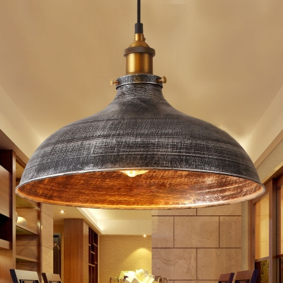 Metal Domed Shape Ceiling Light Living Room Restaurant 1 Light Antique Style Plug In Hanging Light in Galvanized Steel