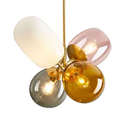 Living Room Balloon Globe Hanging Light Metal and Glass 4 Lights Modern Multi Color Chandelier