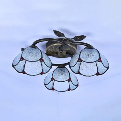 Living Room Domed Semi Flush Mount Light Clear/Blue Glass 3 Lights Antique Style Ceiling Fixture