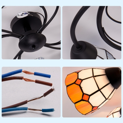 Mediterranean Style Conical Ceiling Light Stained Glass 6 Lights Blue/Yellow Semi Flush Light for Hotel