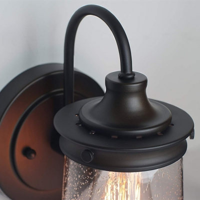 Metal and Glass Wall Sconce Single Light American Vintage Wall Lamp for Front Door Coffee Shop