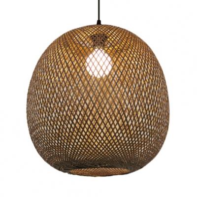 Oval LED Ceiling Light Single Light Bamboo Rustic Pendant Lighting for Living Room Hallway