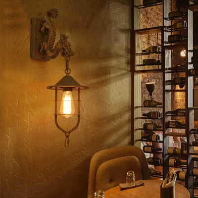 Rust Finish Lantern Wall Sconce with Dragon 1 Light Industrial Metal Wall Lighting for Hallway