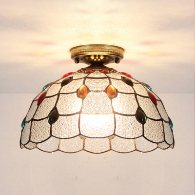 Tiffany Style Dome Ceiling Mount Light One Light Stained Glass Ceiling Lamp for Bedroom