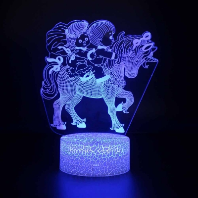 Touch Sensor Unicorn 3D Bedside Light Acrylic Flat 7 Color Changing LED Night Light for Bedroom Kitchen Stair