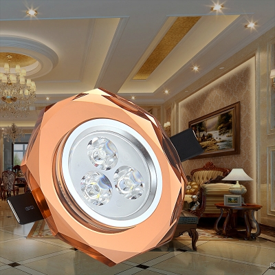 (10 Pack)2-3 Inch Wireless LED Recessed Light Brown/Green/Purple/Colorful Crystal Light Fixture Recessed for Mall Hotel