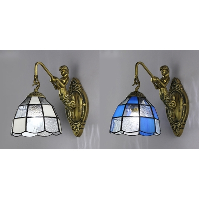 2 Color Optional Dome Wall Sconce with Mermaid Decoration 1 Light Stained Glass for Dining Room Bedroom