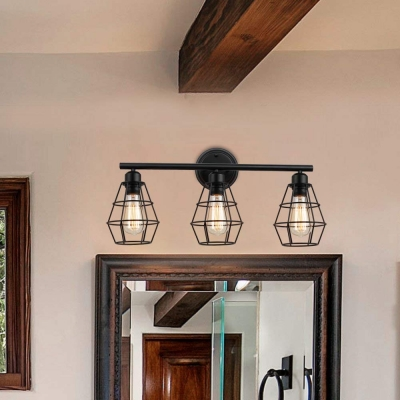 3 Ligt Tapered Shade Vanity Light For Bathroom Industrial Wire Guard Wall Lighting In Black Beautifulhalo Com