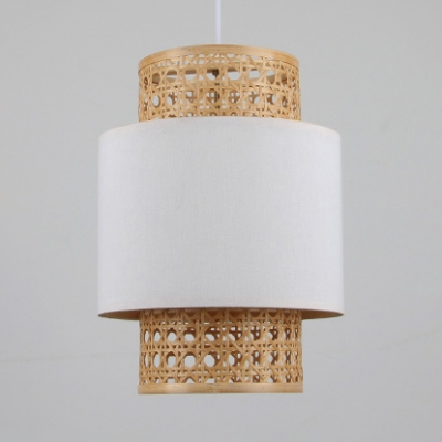 Single Light Cylinder Shape Pendant Lighting Rustic Rattan Pendant Ceiling Light in White/Red