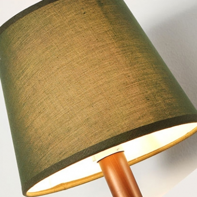 American Rustic Tapered Wall Sconce One Light Fabric Wall Light in White/Green for Foyer