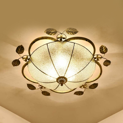 Antique Domed Flush Mount Light 2 Lights Clear/Blue Glass Ceiling Light for Bedroom