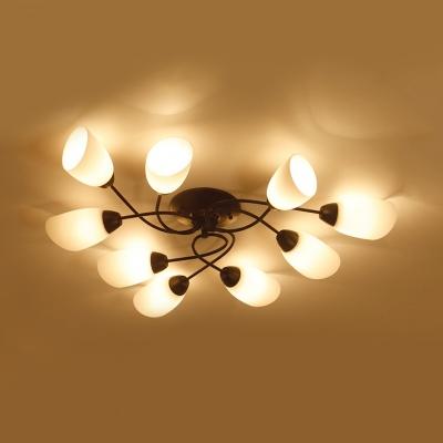 Bedroom Twist Arm Semi Flush Light Metal 4/6/9 Lights American Rustic Black Ceiling Light
