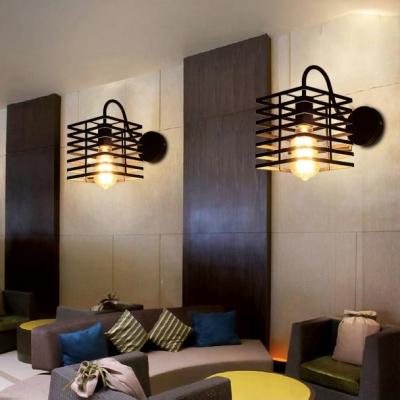 Black Square Shaped Wall Sconce for Restaurant Hallway Vintage Metal Cage Frame Wall Light