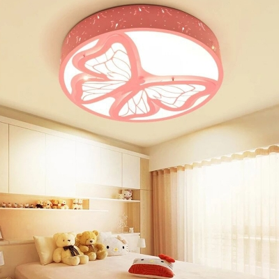 Butterfly Pattern Round Light Fixture White Lighting/Warm Lighting/Stepless Dimming Acrylic Ceiling Light Fixture for Girl Bedroom
