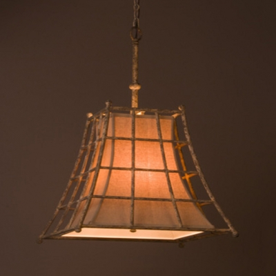 Cafe Restaurant Caged Chandelier Metal and Fabric 4 Lights Antique Style White Ceiling Light