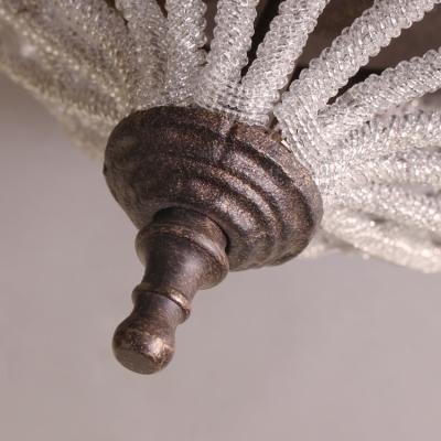 Cone Bedroom Chandelier Metal and Clear Crystal Beads 2 Lights American Vintage Light Fixture in Bronze