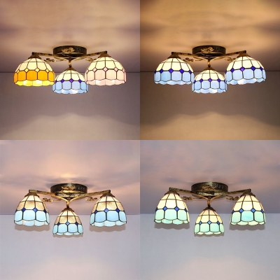 Cone/Dome Ceiling Lamp Living Room 3 Lights Stained Glass Tiffany Style Semi Flush Mount Light