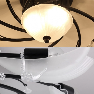 Contemporary Black Semi Flush Mount Light with White Shell Shade and Crystal 3/6/10 Lights Metal Ceiling Light for Bedroom