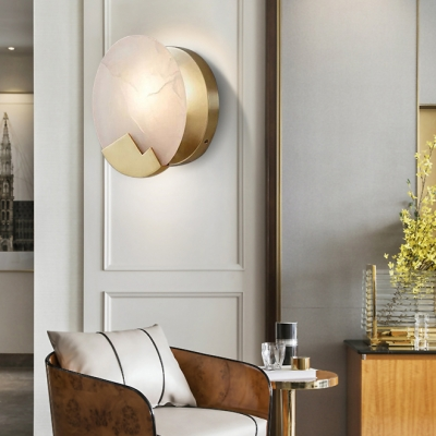 Creative Candle Sconce Lamp with Round Marble Shade 1 Light Metal Wall Light for Bedroom