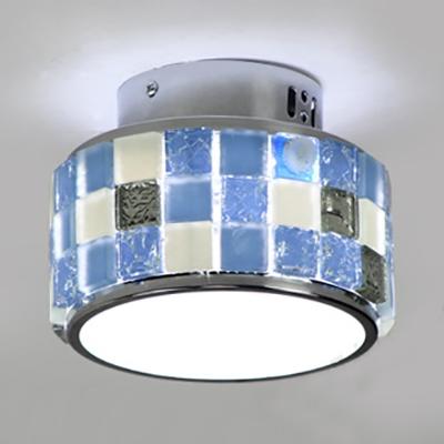 Glass Drum Shape Flush Mount Light Dining Room 1 Light Contemporary Ceiling Fixture