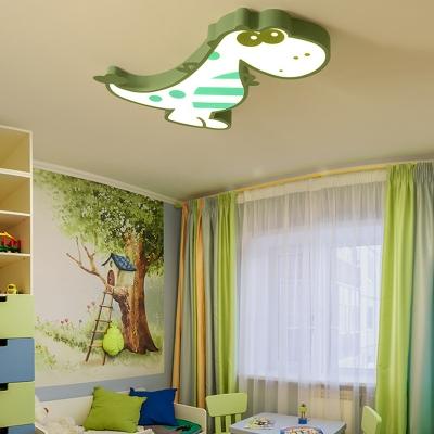 Green/Pink Dinosaur Shape Ceiling Light Warm Lighting/Stepless Dimming LED Flush Ceiling Light for Kids Room