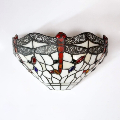 Dining Room Dragonfly Pattern Sconce Light Stained Glass Tiffany Style Vintage Wall Light