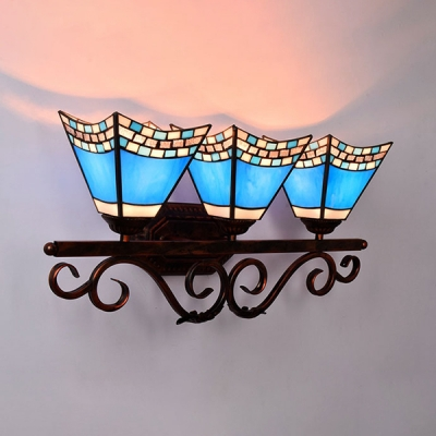 Hotel Restaurant Conical Wall Light Glass 3 Lights Mediterranean Style Blue Wall Sconce