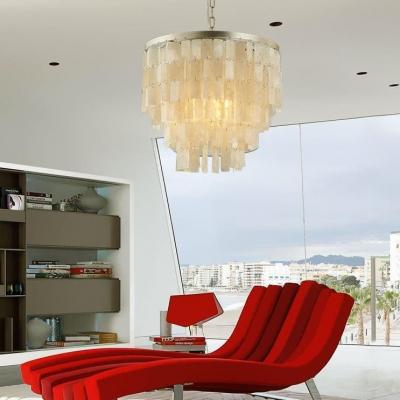 Metal and Shell Circle Pendant Lighting Living Room Single Light Modern Chandelier Light in White