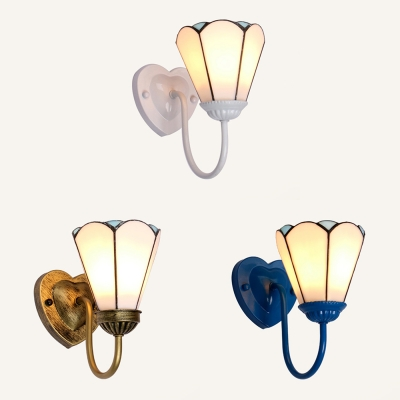 Metal Glass Lotus Wall Light 1 Light Antique Style Wall Sconce in Blue/White/Brass for Bedroom