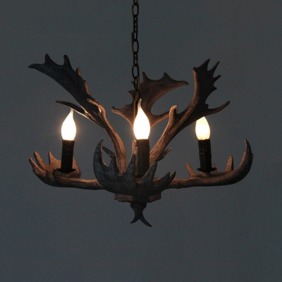 Resin Candle Chandelier with Deer Horn Decoration 3/5 Lights Vintage Style Pendant Lighting for Foyer