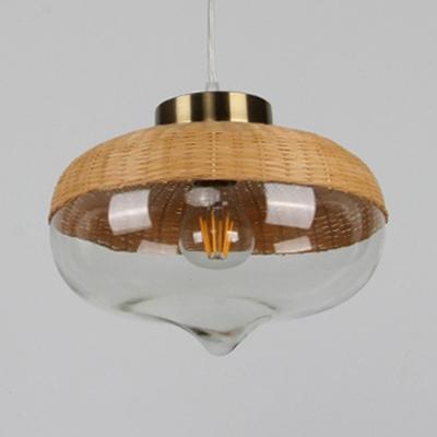 Schoolhouse/Vase Shape Pendant Lighting Single Light Rattan and Clear Glass Rustic Style Pendant Lighting