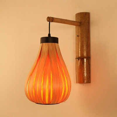 Single Light Melon Shape Wall Lamp Rustic Style Wood Hanging Wall Light for Dining Room Foyer