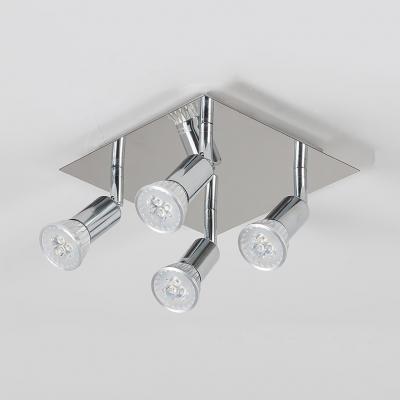 Square Canopy LED Spot Light 4 Heads Chrome Ceiling Light in White/Warm White for Kitchen Dining Room