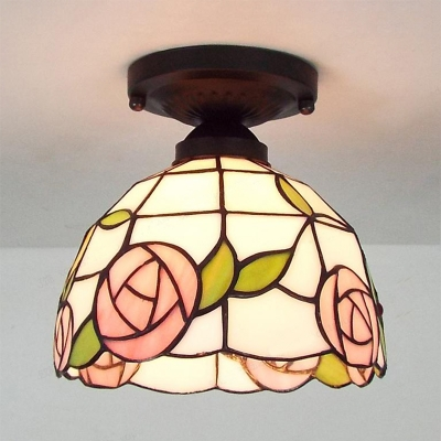 Stained Glass Bowl Flush Light 1 Light Yellow Victoria/Magnolia/Rose/Blue Victoria Ceiling Light for Bathroom