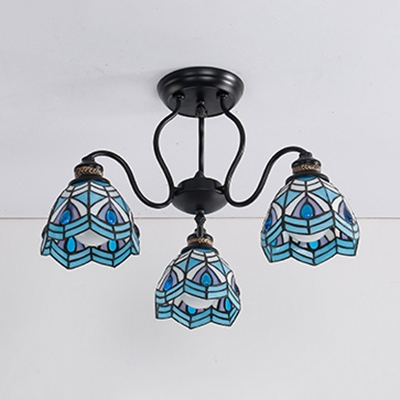 Stained Glass Cone Light Fixture Shop 3 Lights Tiffany Style Semi Ceiling Mount Light