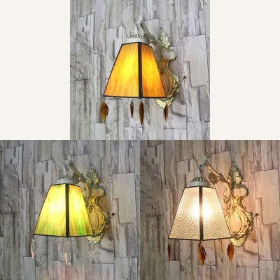 Tapered Wall Lamp With Crystal Decoration 1 Light Traditional Wall