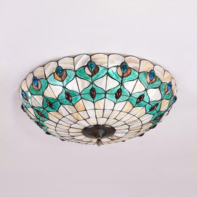 Tiffany Style Flush Mount Light Peacock Tail Stained Glass Ceiling Light for Bedroom