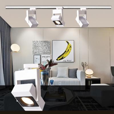 (2 Pack)Slim Square LED Track Lighting 1 Head Commercial Black/White Ceiling Lamp in White/Warm White for Gallery