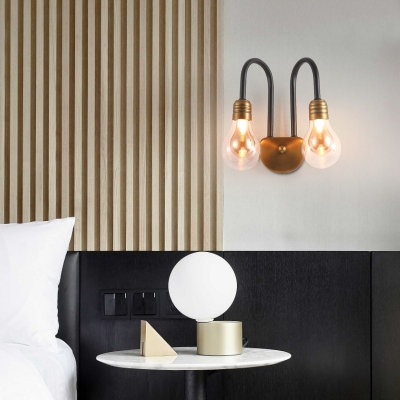 1/2/3 Lights Bulb Shape Sconce Wall Light European Style Metal and Glass Wall Lamp for Study Bedroom
