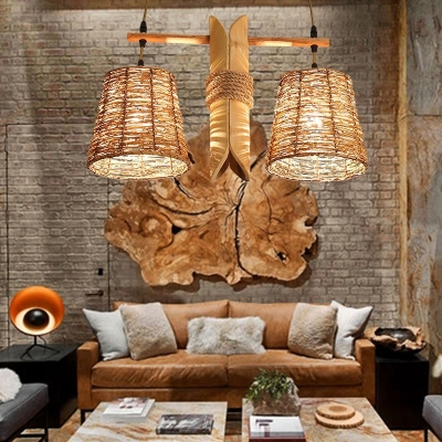 2-Light Tapered Drum Island Pendant Country Style Rattan Chandelier in Wood for Bar Restaurant